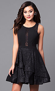 Short Black Glitter Lace Party Dress