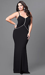 Plus Size Long Prom Dress with Rhinestone Trim