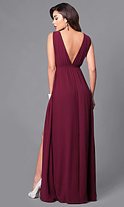 Image of empire-waist formal dress with low v-neckline Style: SY-ID3743VP Back Image