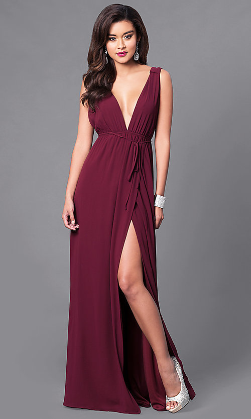 Image of empire-waist formal dress with low v-neckline Style: SY-ID3743VP Front Image