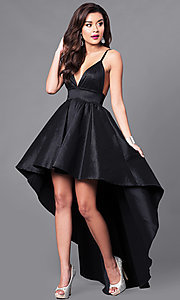 Image of black high-low v-neck prom dress with empire-waist. Style: SY-ID3659VP Front Image