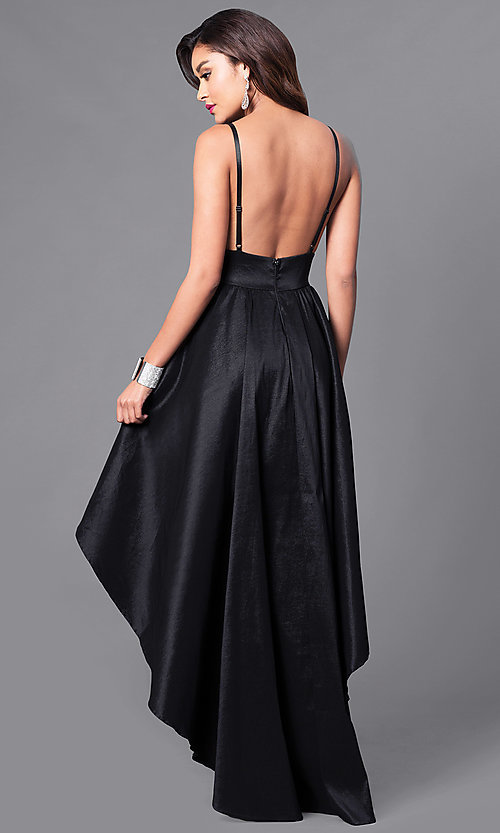 High-Low Black Prom Dress with Deep V-Neck - PromGirl