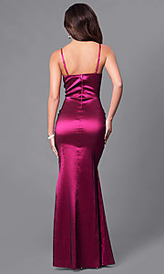 Image of v-neck long prom dress with front slit. Style: SY-ID3746VP Back Image