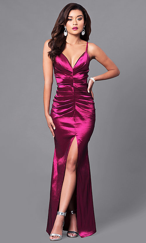 Image of v-neck long prom dress with front slit. Style: SY-ID3746VP Front Image