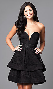 Strapless Short Homecoming Dress with Two-Tier Skirt
