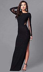 Image of black sheer-back glitter prom dress with long sleeves. Style: SY-ID3789VP Front Image