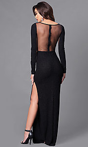 Image of black sheer-back glitter prom dress with long sleeves. Style: SY-ID3789VP Back Image