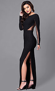 Image of black sheer-back glitter prom dress with long sleeves. Style: SY-ID3789VP Detail Image 1