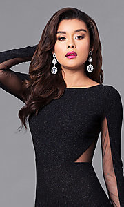 Image of black sheer-back glitter prom dress with long sleeves. Style: SY-ID3789VP Detail Image 2