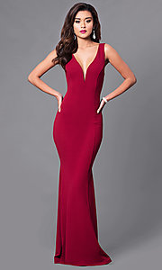 Image of long open-back prom dress with low v-neck. Style: SY-ID3712AP Front Image