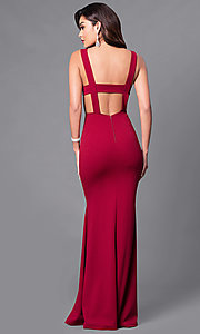 Image of long open-back prom dress with low v-neck. Style: SY-ID3712AP Back Image
