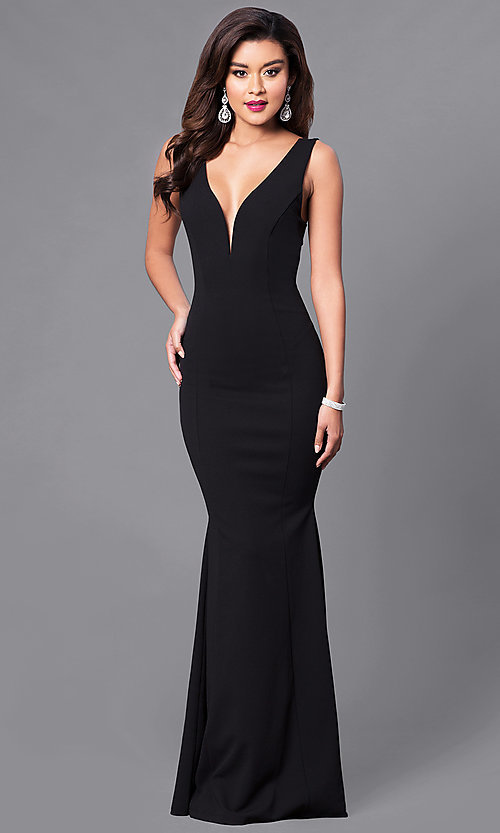 Image of long open-back prom dress with low v-neck. Style: SY-ID3712AP Detail Image 2