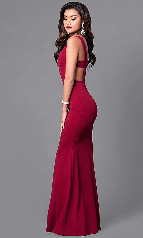 Image of long open-back prom dress with low v-neck. Style: SY-ID3712AP Detail Image 1