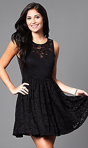 Image of black short lace sleeveless homecoming party dress. Style: SY-ID3665VP Front Image