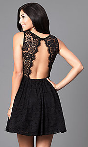 Image of black short lace sleeveless homecoming party dress. Style: SY-ID3665VP Back Image