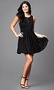Image of black short lace sleeveless homecoming party dress. Style: SY-ID3665VP Detail Image 1