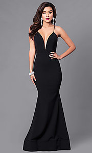 Image of low v-neck long prom dress with open back. Style: SY-ID3471VP Front Image