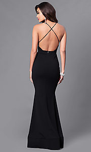 Image of low v-neck long prom dress with open back. Style: SY-ID3471VP Back Image