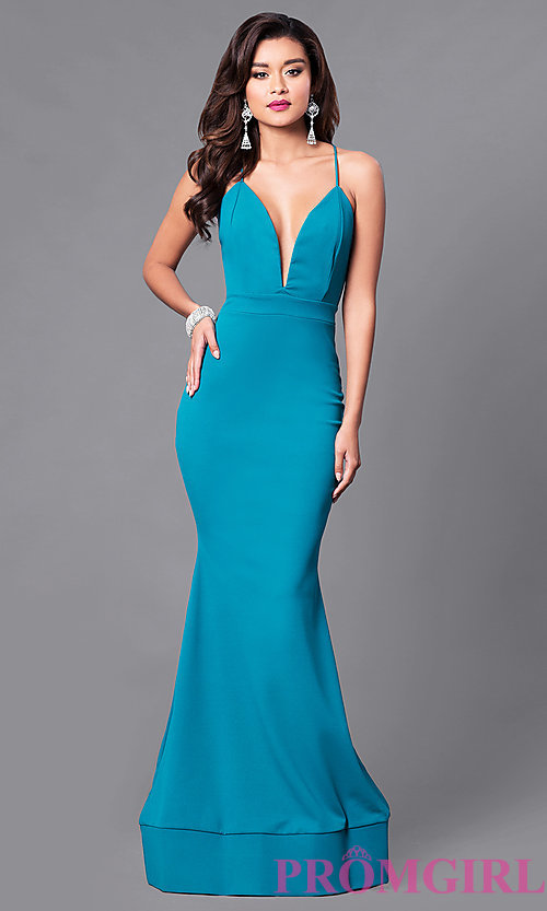 Image of low v-neck long prom dress with open back. Style: SY-ID3471VP Detail Image 1