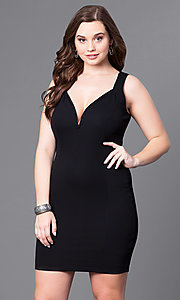 V-Neck Short Black Plus Holiday Party Dress