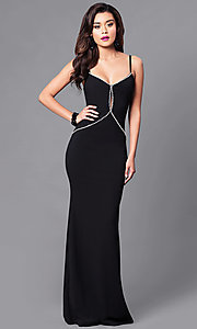 Image of long black prom dress with rhinestone bodice. Style: SY-ID3629EP Front Image