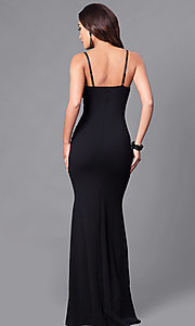Image of long black prom dress with rhinestone bodice. Style: SY-ID3629EP Back Image