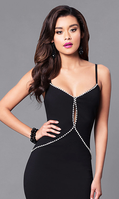 Image of long black prom dress with rhinestone bodice. Style: SY-ID3629EP Detail Image 1
