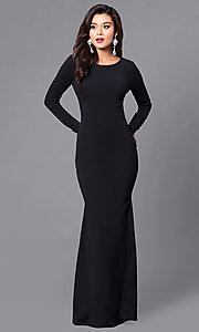 Image of long prom dress with long sleeves and lace-up back. Style: SY-ID3684HP Front Image
