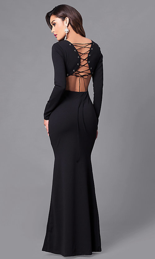 Image of long prom dress with long sleeves and lace-up back. Style: SY-ID3684HP Back Image