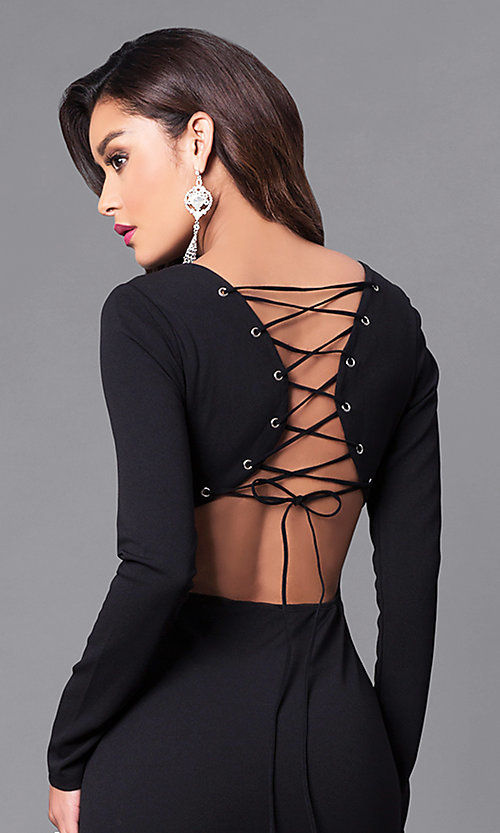 Image of long prom dress with long sleeves and lace-up back. Style: SY-ID3684HP Detail Image 1