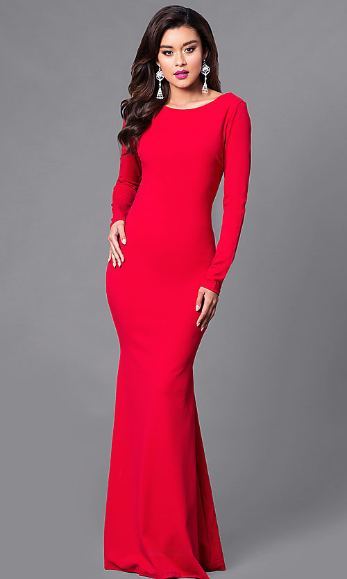 Image of long prom dress with long sleeves and lace-up back. Style: SY-ID3684HP Detail Image 2