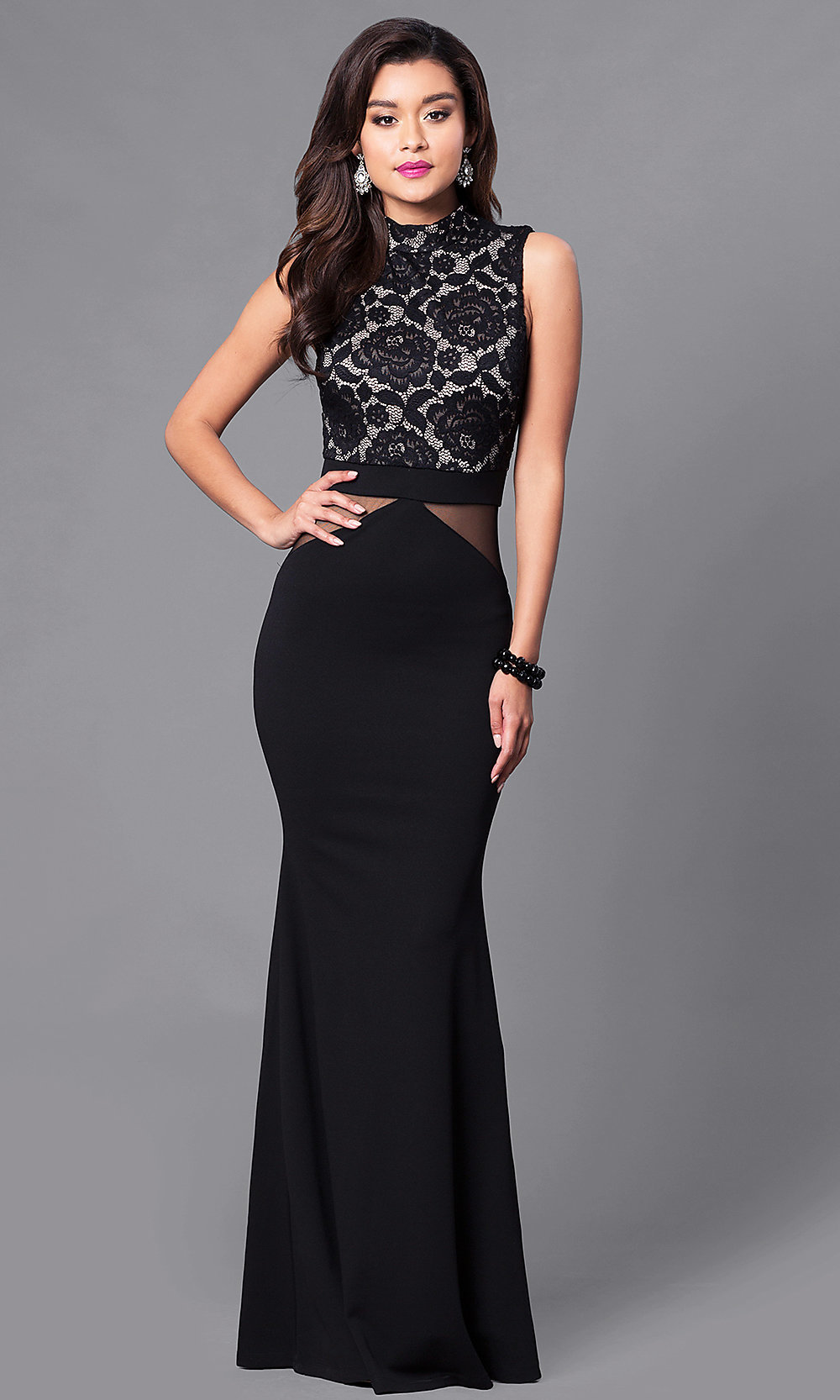 73f0091508 Image of long prom dress with high-neck lace bodice. Style  SY-. Tap to  expand