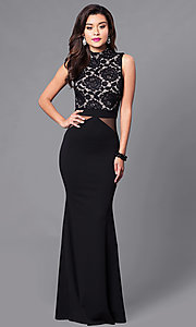 Image of long prom dress with high-neck lace bodice. Style: SY-ID3647AP Front Image