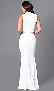 Image of long prom dress with high-neck lace bodice. Style: SY-ID3647AP Back Image