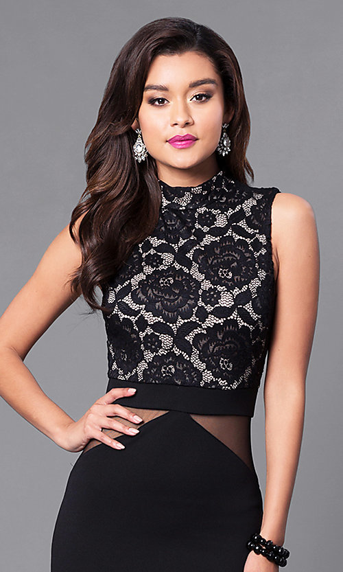 Image of long prom dress with high-neck lace bodice. Style: SY-ID3647AP Detail Image 2