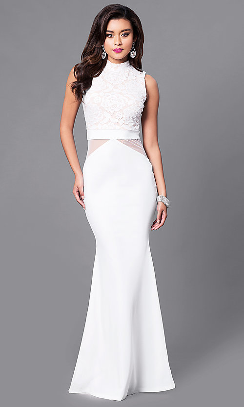 Image of long prom dress with high-neck lace bodice. Style: SY-ID3647AP Detail Image 1
