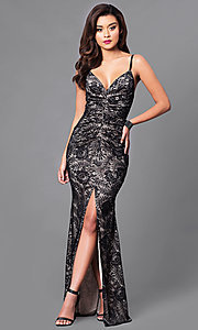 Image of black lace long prom dress with v-neck. Style: SY-ID3753VP Front Image