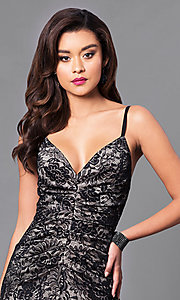 Image of black lace long prom dress with v-neck. Style: SY-ID3753VP Detail Image 1