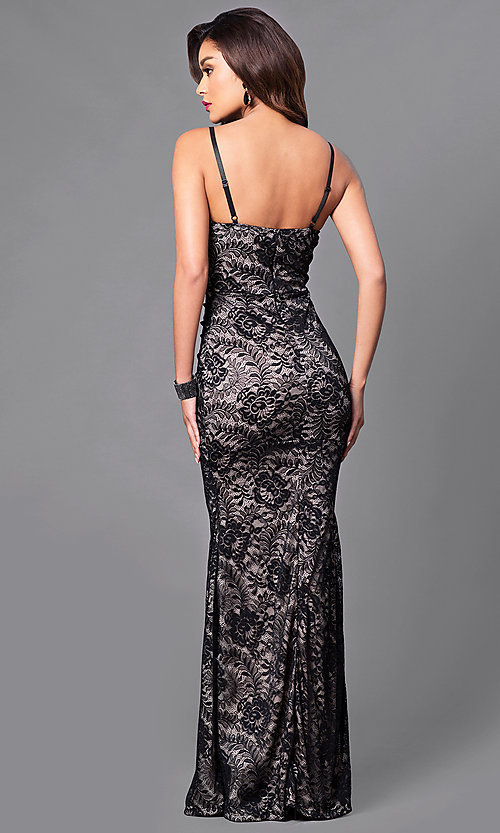 Image of black lace long prom dress with v-neck. Style: SY-ID3753VP Back Image