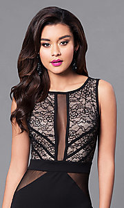 Image of long cut-out back illusion mesh & lace prom dress. Style: SY-ID3778AP Detail Image 1