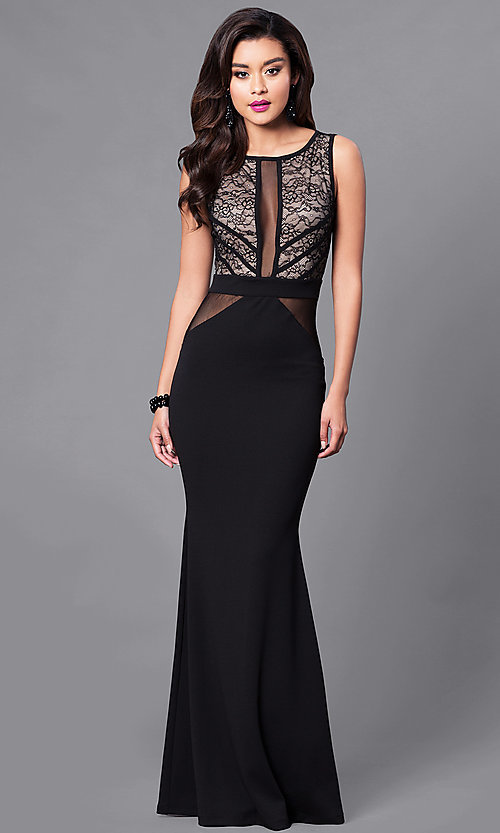 634a919ac79c Image of long cut-out back illusion mesh & lace prom dress. Style: