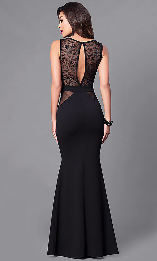 Image of long cut-out back illusion mesh & lace prom dress. Style: SY-ID3778AP Back Image
