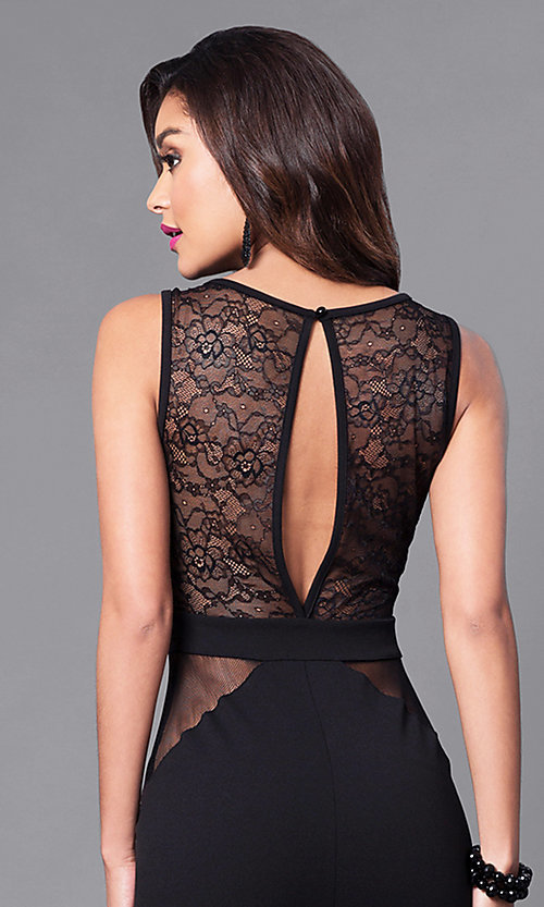 Image of long cut-out back illusion mesh & lace prom dress. Style: SY-ID3778AP Detail Image 2