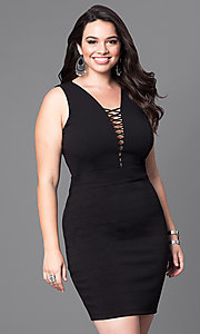 Black Sleeveless Fitted Plus Dress with Lace-Up Neckline