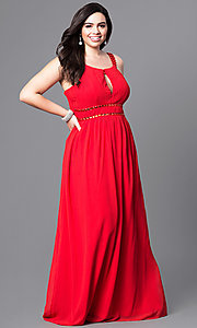 Long Plus Size Prom Dress with Smocked Back