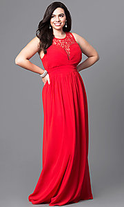 Image of plus-size long prom dress with lace bodice. Style: LP-22297P Front Image