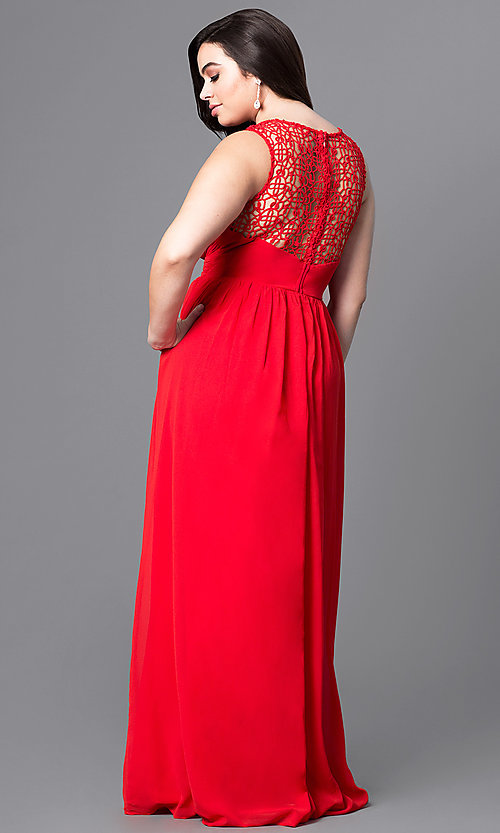 Image of plus-size long prom dress with lace bodice. Style: LP-22297P Back Image