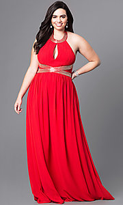 Keyhole Halter Long Plus Size Prom Dress