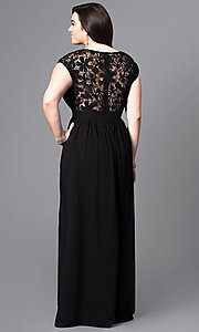 Image of plus-size long formal prom dress with lace bodice. Style: LP-22620P Back Image