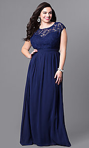 Image of plus-size long formal prom dress with lace bodice. Style: LP-22620P Detail Image 3